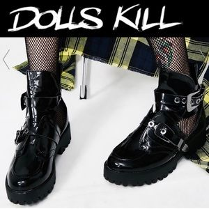 Dolls Kill Black Buckled Down Cut Out Boots